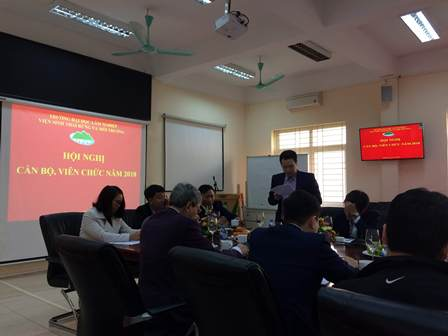 Dr. Pham Van Duan - Deputy Director presented 'Review report on assessing the implementation of the 2018 plan tasks, key tasks, and solutions for implementation in 2019' of Viet Nam National University of Forestry